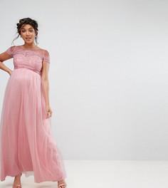 Кружевное платье макси с открытыми плечами Chi Chi London Maternity - Розовый