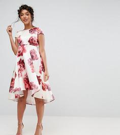 Платье миди с цветочным принтом и асимметричным краем Chi Chi London Maternity - Мульти