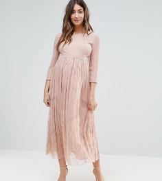 Платье миди с отделкой на юбке Maya Maternity - Розовый