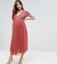 Платье миди с отделкой пайетками и юбкой из тюля Maya Maternity - Розовый