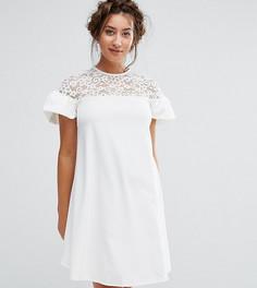 Свободное платье с кружевом и оборками на рукавах Queen Bee Maternity - Белый