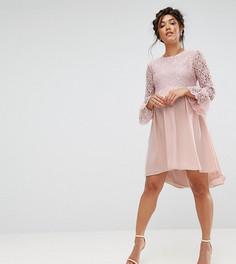 Асимметричное платье с кружевным топом и оборками на рукавах Queen Bee - Розовый