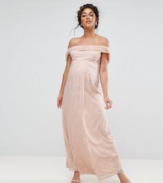 Кружевное платье макси с драпировкой Queen Bee - Розовый
