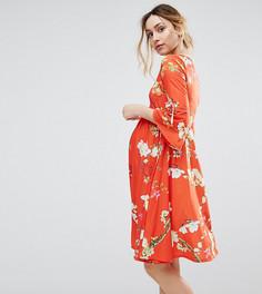 Короткое приталенное платье с принтом Bluebelle Maternity - Мульти