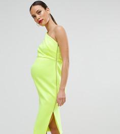 Платье миди на одно плечо с глубокими складками и открытой молнией ASOS Maternity - Желтый