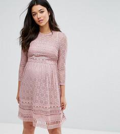 Короткое приталенное кружевное платье ASOS Maternity PREMIUM - Фиолетовый