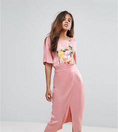 Платье-кимоно миди с вышивкой ASOS TALL - Мульти