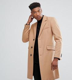 Бежевое пальто с добавлением шерсти ASOS TALL - Рыжий