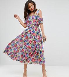 Платье миди с открытыми плечами и цветочным принтом ASOS TALL - Мульти