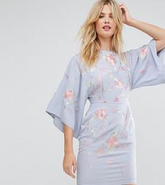 Платье мини с вышивкой и широкими рукавами ASOS TALL - Синий