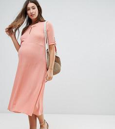 Платье из жатого хлопка ASOS Maternity - Оранжевый
