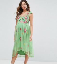 Сетчатое платье с вышивкой ASOS Maternity - Мульти