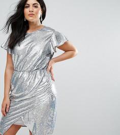 Платье с запахом и пайетками ASOS CURVE - Серебряный