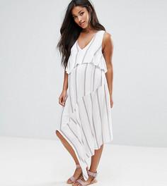 Двухслойное платье в полоску ASOS Maternity - Белый
