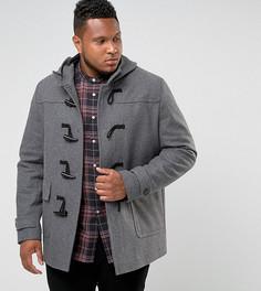 Светло-серое пальто с добавлением шерсти ASOS PLUS - Серый
