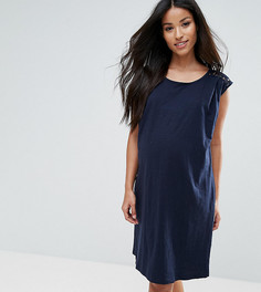 Платье с кружевной вставкой Mamalicious - Темно-синий Mama.Licious