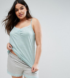 Пижамный комплект в полоску с шортами Yours Clothing - Зеленый