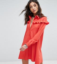 Платье-рубашка с оборками Glamorous Tall - Красный