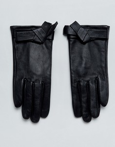 Кожаные перчатки с бантами ASOS - Черный