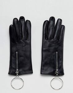 Кожаные перчатки с большим кольцом ASOS - Черный