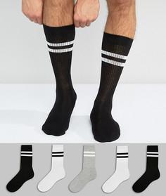 Набор из 5 пар спортивных носков (монохромные/ с полосками) ASOS - Черный
