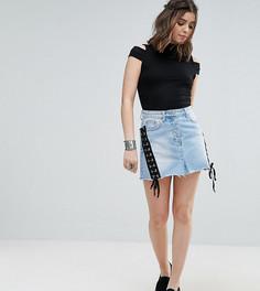 Джинсовая мини-юбка со шнуровкой Glamorous Petite - Синий