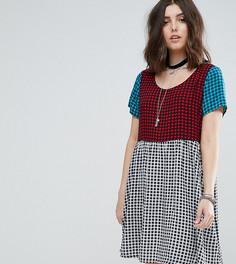 Свободное платье мини в клетку тартан Glamorous Petite - Мульти