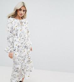 Платье макси с цветочным принтом и асимметричным краем Glamorous Petite - Мульти