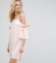 Платье мини с открытыми плечами и бантами на рукавах True Decadence Tall - Кремовый