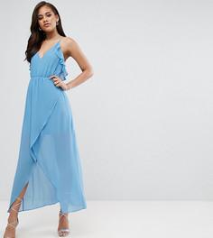 Платье-комбинация с запахом и оборками True Decadence Tall - Синий
