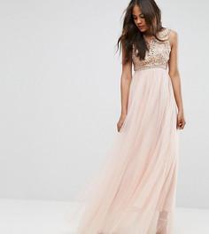 Премиум-платье макси с аппликацией и юбкой из тюля True Decadence Tall - Розовый