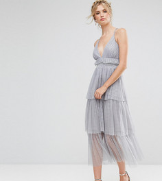Платье миди с оборками из тюля True Decadence Tall Premium - Серый
