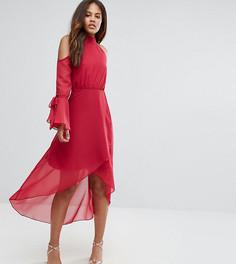 Платье миди с открытыми плечами и запахом True Decadence Tall Premium - Розовый
