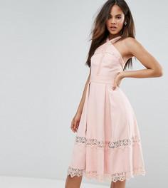 Приталенное платье с кружевными вставками True Decadence Tall Premium - Розовый
