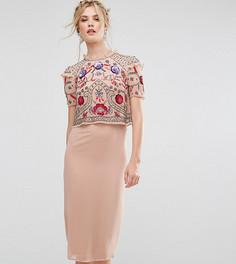 Платье-футляр миди с накладкой и цветочной отделкой Frock And Frill Tall - Розовый