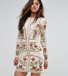 Платье с отделкой и цветочной вышивкой Frock And Frill Tall - Розовый
