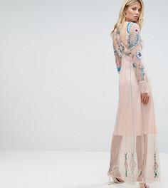 Платье макси с цветочной вышивкой Frock And Frill Tall - Розовый