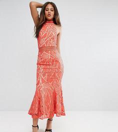 Кружевное платье с высоким воротом и асимметричным краем Jarlo Tall - Оранжевый