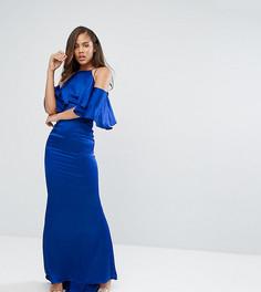 Платье макси с оборкой Jarlo Tall - Синий