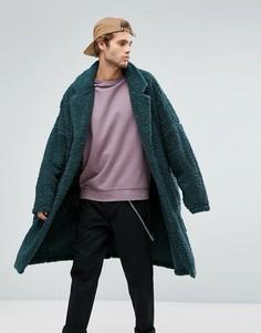 Длинное оверсайз-пальто из искусственного меха ASOS - Зеленый
