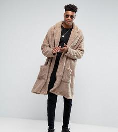Легкое свободное пальто из искусственного меха ASOS TALL - Бежевый