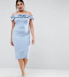 Платье с открытыми плечами и рюшами ASOS CURVE - Синий