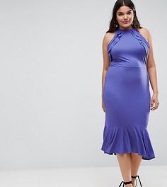 Платье миди с двойными оборками и баской ASOS CURVE - Фиолетовый