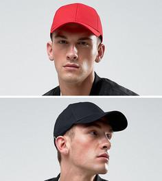2 бейсболки (черный, красный) ASOS - Черный