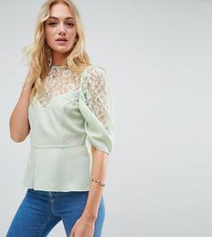 Блузка с пышными рукавами и кружевом ASOS TALL - Зеленый