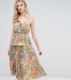 Ярусное плиссированное платье миди с цветочным принтом ASOS TALL - Мульти