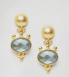 Серьги-подвески с камнем Ottoman Hands - Золотой