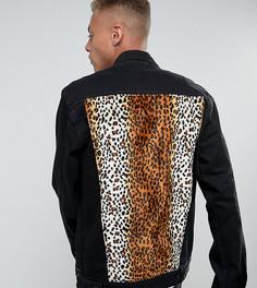 Свободная джинсовая куртка с леопардовым принтом на вставке Reclaimed Vintage Inspired - Черный