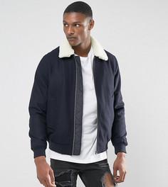 Темно-синяя куртка Харрингтон из ткани с добавлением шерсти и воротником из искусственного меха ASOS TALL - Темно-синий