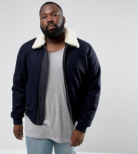 Темно-синяя куртка из ткани с добавлением шерсти и воротником из искусственного меха ASOS PLUS - Темно-синий